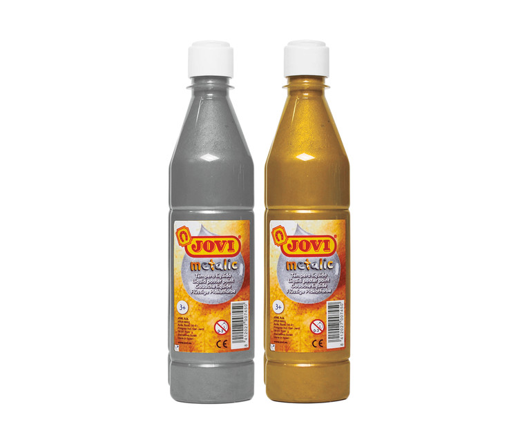 Témpera escolar metalizada, botella 500 ml